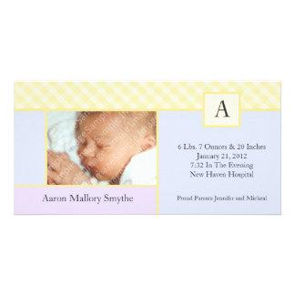 Initiala kort för foto för baby för fotokort