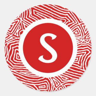 Initiala Scribbleprint Runt Klistermärke