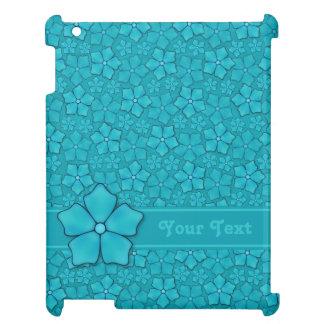 Initialer för Monogram för Aquamarineblommapetals iPad Mobil Fodral