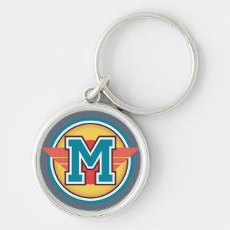 Initialt blåttMonogrambrev M Rund Silverfärgad Nyckelring