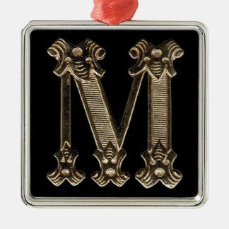 Initialt brev M kvadrerar på prydnaden Julgransprydnad Metall