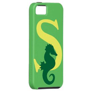 Initialt brev S, seahorseanpassningsbar för iPhone 5 Fodral
