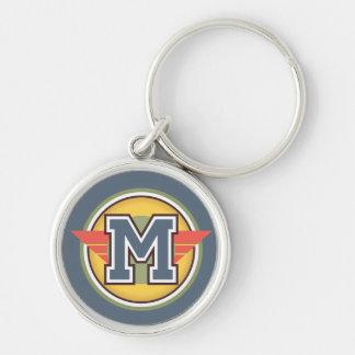 Initialt Deco Monogrambrev M Rund Silverfärgad Nyckelring