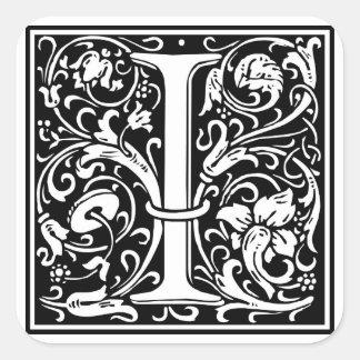 """Initialt dekorativt brev """"jag"""", fyrkantigt klistermärke"""