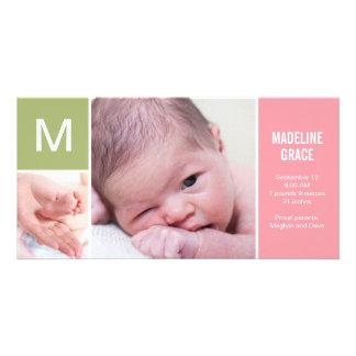 Initialt födelsemeddelande för baby - rosa fotokort