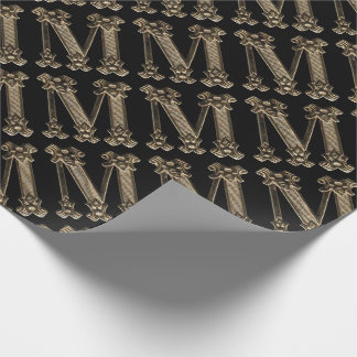 Initialt guld- brev M eller Monogram på svart Presentpapper