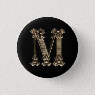 Initialt guld- brev M eller monogramen knäppas Mini Knapp Rund 3.2 Cm