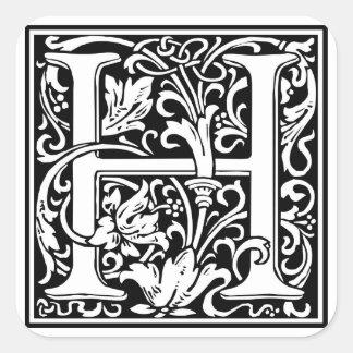 """Initialt """"H"""" för dekorativt brev, Fyrkantigt Klistermärke"""