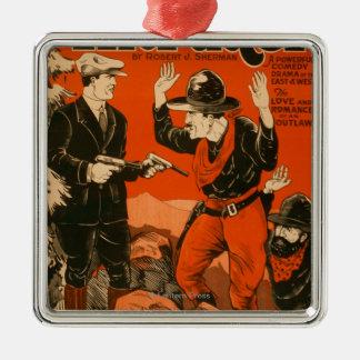 Inkräktaren - western Cowboykomediscenisk Julgransprydnad Metall