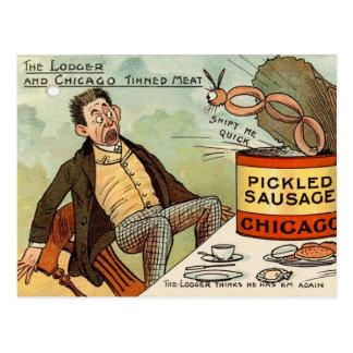 Inlagd korvmatsäkerhet - vintagetecknad vykort