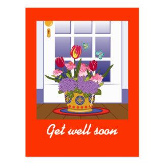 Inlagda blommor framme av dörrmomentet vykort