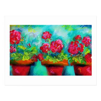 Inlagda rosa pelargoner vykort