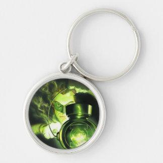 Innehav den gröna lyktan rund silverfärgad nyckelring