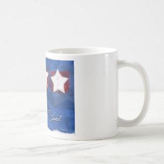 Inramad enig stjärnakaffemugg - står vi