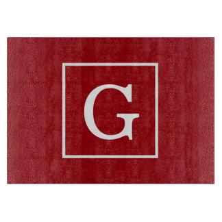 Inramad initial Monogram för Cranberry röd vit