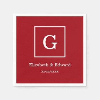 Inramad initial Monogram för Cranberry röd vit Papper Servetter
