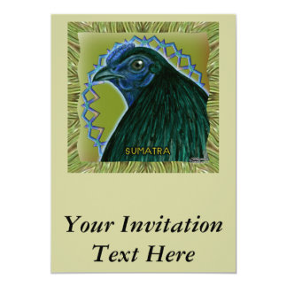 Inramad Sumatra tupp 12,7 X 17,8 Cm Inbjudningskort