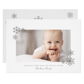 Inramat foto för nytt år för glittersnöflingor 12,7 x 17,8 cm inbjudningskort