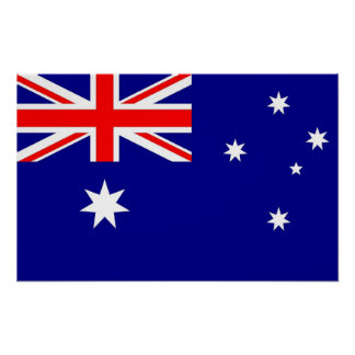 Inramat tryck med flagga av Australien