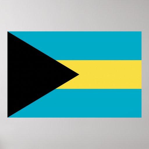 Inramat tryck med flagga av Bahamas Posters