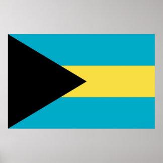 Inramat tryck med flagga av Bahamas Poster