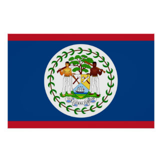 Inramat tryck med flagga av Belize