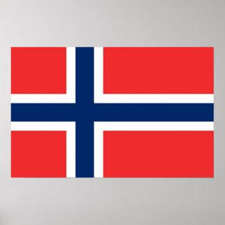 Inramat tryck med flagga av norgen affisch