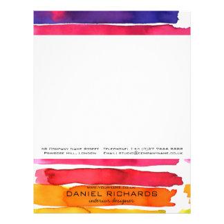 Inre märkes- visitkort för regnbågevattenfärg brevhuvud
