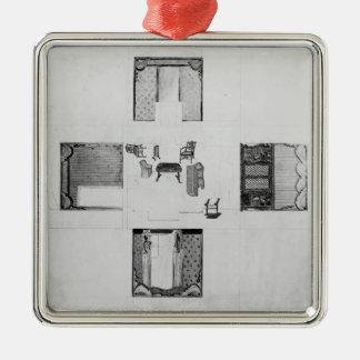 Inredning för ett litet teckningrum julgransprydnad metall