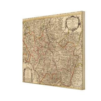 Inristad karta av frankriken canvastryck