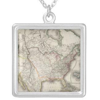 Inristad karta av Nordamerika Halsband Med Fyrkantigt Hängsmycke