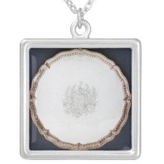 Inristad salver, 18th århundrade silverpläterat halsband