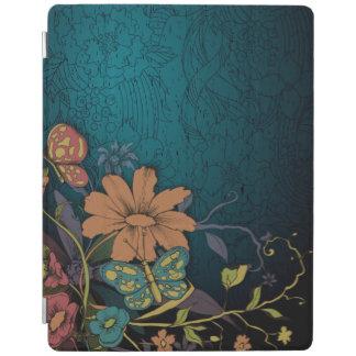 Inristade vildblommar och fjärilar iPad skydd