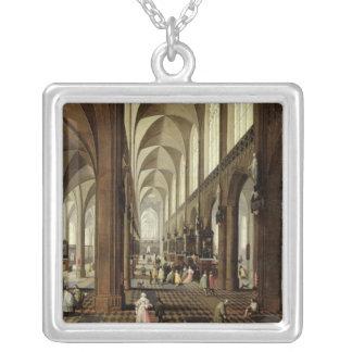 Insida av den Antwerp domkyrkan, c.1650 Silverpläterat Halsband