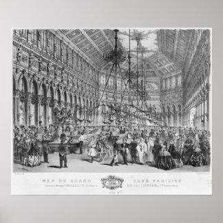"""Insida av """"den storslagna cafen Parisien"""", Paris Poster"""