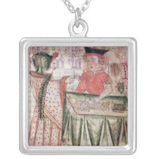 Insida av en shoppa, från medborgarelagen silverpläterat halsband