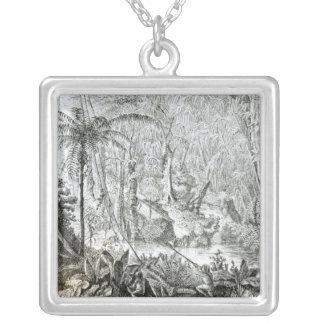 Insida av en urtids- skog i amasonerna silverpläterat halsband