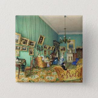 Insida av ett vardagsrum, 1847 standard kanpp fyrkantig 5.1 cm