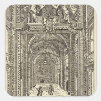 Insida av hertigtheatren i Lincolns gästgivargård Fyrkantigt Klistermärke