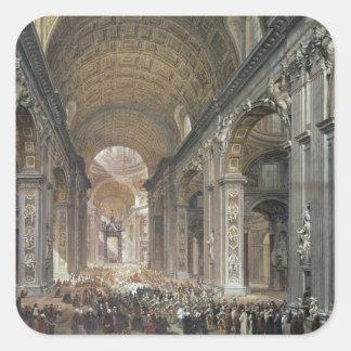 Insida av St Peter, Rome, 1867 Fyrkantigt Klistermärke