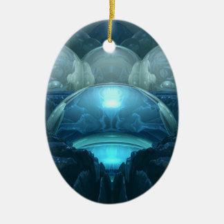 Insida en blåttmåne julgransprydnad keramik