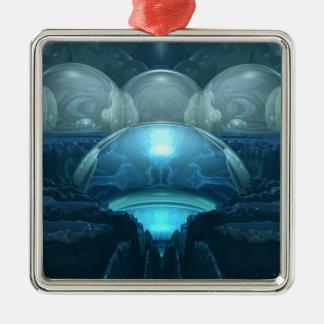 Insida en blåttmåne julgransprydnad metall