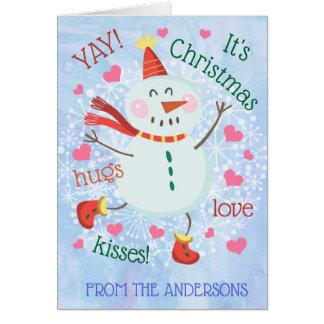 Insida för foto för julsnögubbeblått hälsningskort