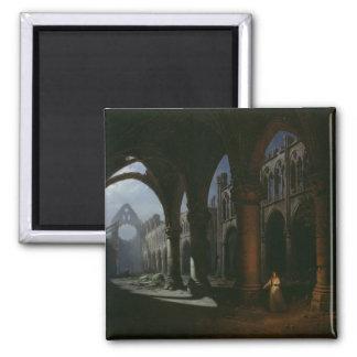 Insidan av en Abbey fördärvar in, 1848 Magnet