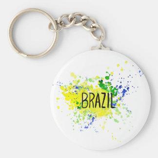 Inskrift Brasilien på bakgrundsvattenfärgfläckar Rund Nyckelring