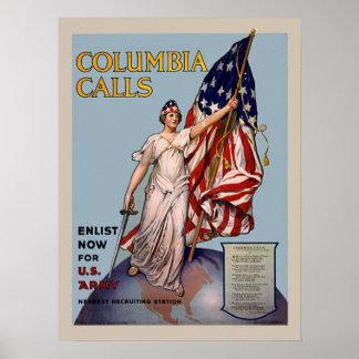 Inskrivning för armé för Columbia appellvintage Poster