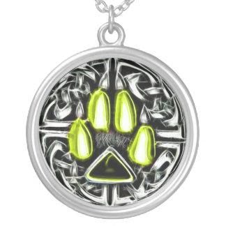 Inslag av amuletten för luftWerewolfskydd Silverpläterat Halsband