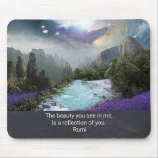 Inspirationquotationen från Rumi med naturen Musmatta