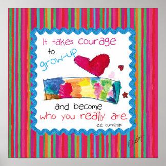 Inspirera affisch med barnkonst av en hjärta poster