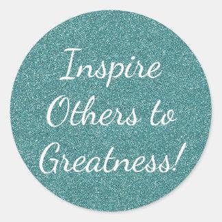Inspirera andra till klistermärkear för runt klistermärke